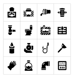 Set icons of sewerage vector image vector image