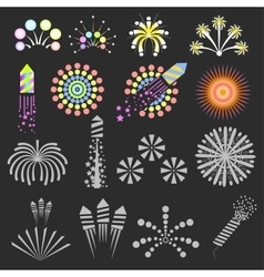 Set of fireworks design elements vector image vector image