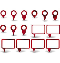 Set of red pointers on white background with vector image vector image