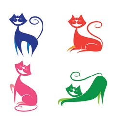 set of smiley cat vector image