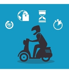 Silhouette boy icons delivery design vector