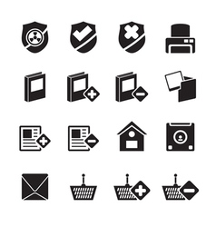 Silhouette Internet and Website buttons and icons vector image