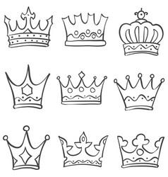 Sketch crown various doodle set vector