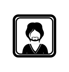 Square border with silhouette half body man with vector
