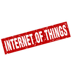 square grunge red internet of things stamp vector image