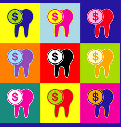 The cost of tooth treatment sign pop-art vector