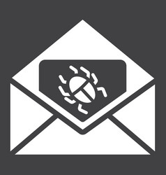 Virus in email solid icon spam and security vector