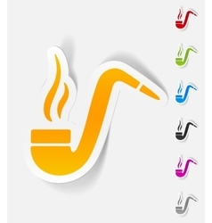 Realistic design element tobacco pipe vector