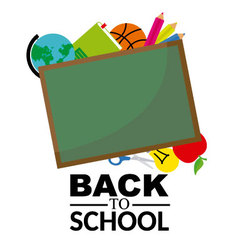 Blackboard with school objects vector