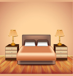 Modern bedroom interior with large bed vector