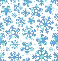 Different blue snowflakes abstract seamless vector