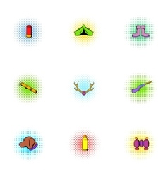 Vacation in forest icons set pop-art style vector image