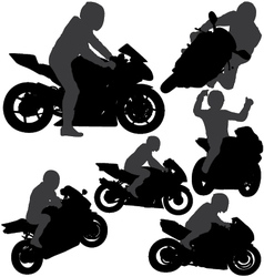 Motorcycle rider silhouettes vector