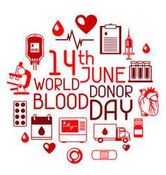 14t june world blood donor day background with vector image vector image