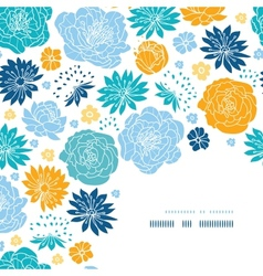 Blue and yellow flower silhouettes corner decor vector