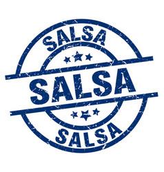 Salsa blue round grunge stamp vector