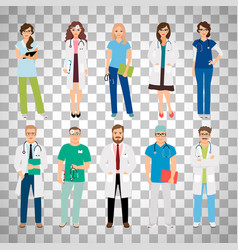 medical team workers on transparent background vector image