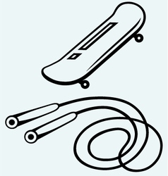 Skateboard and skipping rope vector image