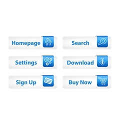 Web buttons with blue bookmarks and six icons vector