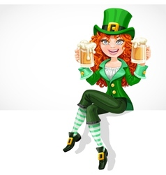 Beautiful red-haired girl leprechaun sitting on vector