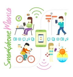 Smartphone and social media mania vector