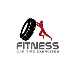 Fitness car tire exercises design template vector