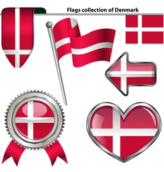Glossy icons with danish flag vector