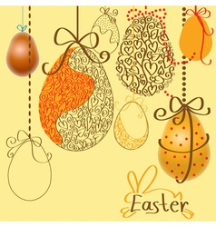 Easter eggs on the ropes vector