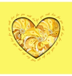 Yellow painted peacock feathers heart design love vector