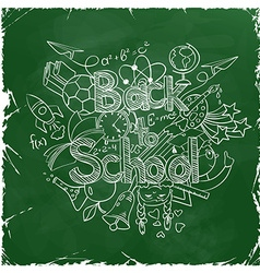 Back to school scribbles on a green chalkboard vector