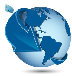 globe with blue arrow vector image