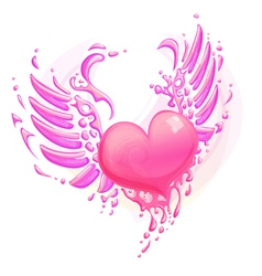 Pink heart with wings vector