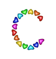 Letter c made of multicolored hearts vector