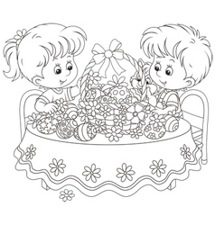 Children with an easter basket vector