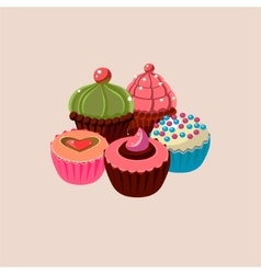 Five cupcakes set vector