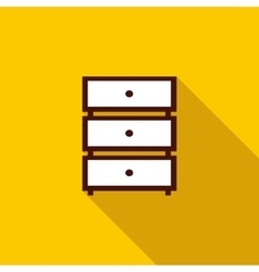 Chest of drawers icon flat style vector