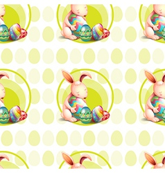 A seamless design with bunnies hugging the eggs vector