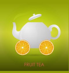 Abstract fruit tea teapot orange slices vector