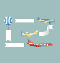 advertisement black placards attached to aircrafts vector image vector image