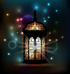 Arabic lantern with ornamental pattern for ramadan vector