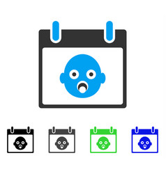 Baby head calendar day flat icon vector
