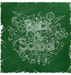 Back to school scribbles on a green chalkboard vector