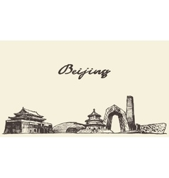 Beijing skyline drawn sketch vector image vector image