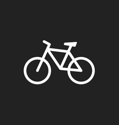 Bike icon on black background bicycle in flat vector