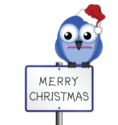 bird merry Christmas vector image vector image