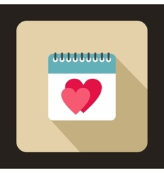 Calendar with heart icon flat style vector image vector image