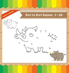Cartoon Rhino Dot to dot educational game for kids vector image