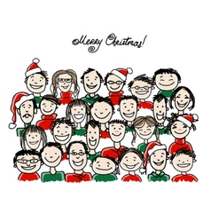 Christmas party with group of people sketch for vector image vector image