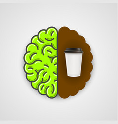 coffee in human brain clean vector image vector image