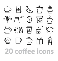 Collection of coffee line icons vector